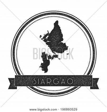 Siargao Map Stamp. Retro Distressed Insignia. Hipster Round Badge With Text Banner. Island Vector Il