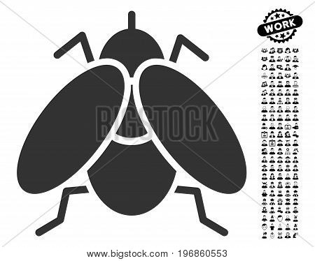 Fly icon with black bonus job pictograms. Fly vector illustration style is a flat gray iconic element for web design, app user interfaces.