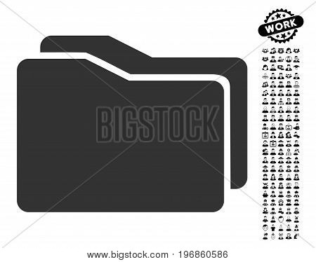 Folders icon with black bonus work images. Folders vector illustration style is a flat gray iconic element for web design, app user interfaces.