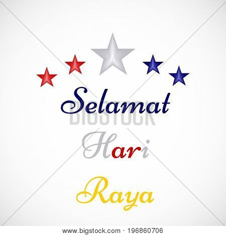 illustration of stars with Selamat Hari Raya text on the occasion of Malaysia Day