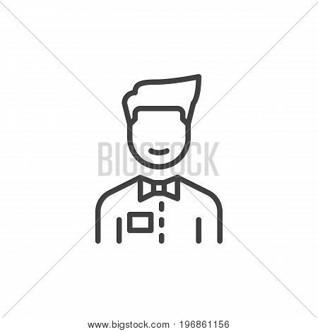 Person with bow tie line icon, outline vector sign, linear style pictogram isolated on white. Waiter symbol, logo illustration. Editable stroke. Pixel perfect vector graphics