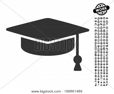 Graduation Cap icon with black bonus job pictures. Graduation Cap vector illustration style is a flat gray iconic element for web design, app user interfaces.
