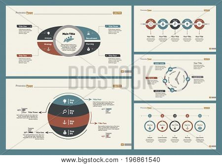 Infographic design set can be used for workflow layout, diagram, annual report, presentation, web design. Business and finance concept with process, timing and percentage charts.