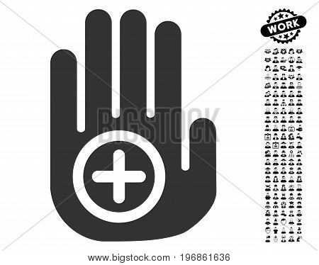 Hand Medical Marker icon with black bonus job icon set. Hand Medical Marker vector illustration style is a flat gray iconic symbol for web design, app user interfaces.