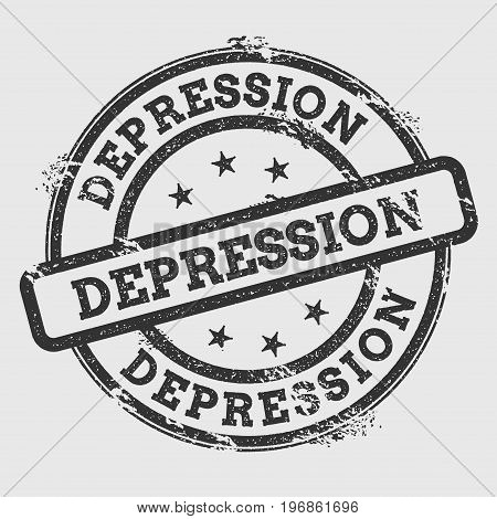 Depression Rubber Stamp Isolated On White Background. Grunge Round Seal With Text, Ink Texture And S