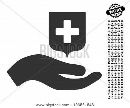 Hand Offer Medical Shield icon with black bonus people pictures. Hand Offer Medical Shield vector illustration style is a flat gray iconic symbol for web design, app user interfaces.