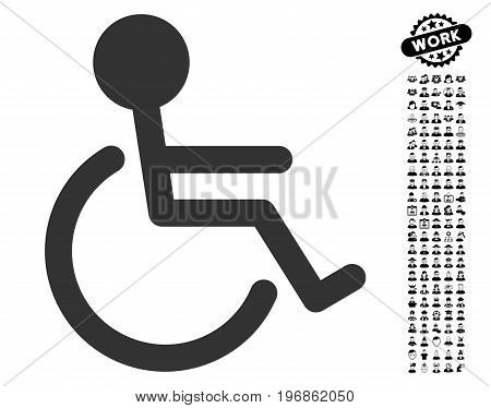 Handicapped icon with black bonus professional pictograms. Handicapped vector illustration style is a flat gray iconic element for web design, app user interfaces.