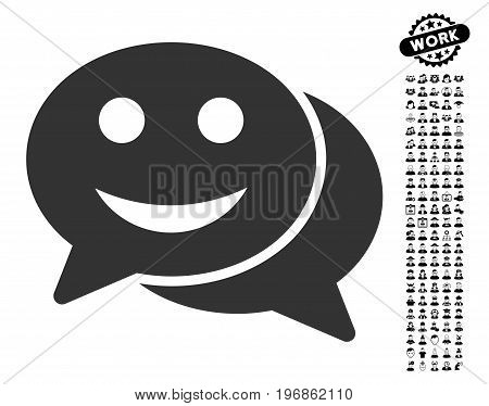 Happy Chat icon with black bonus people graphic icons. Happy Chat vector illustration style is a flat gray iconic element for web design, app user interfaces.