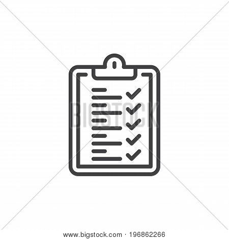 Clipboard checklist line icon, outline vector sign, linear style pictogram isolated on white. Symbol, logo illustration. Editable stroke. Pixel perfect vector graphics