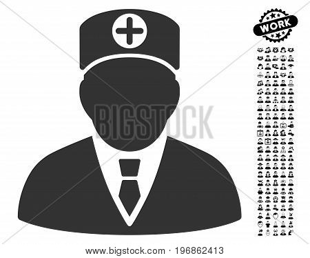 Head Physician icon with black bonus professional design elements. Head Physician vector illustration style is a flat gray iconic element for web design, app user interfaces.