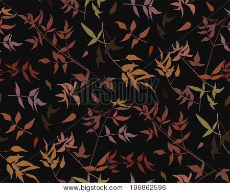 Seamless pattern leaf different branches natural fall red orange yellow leaves silhouette. Vector forest foliage falling leaves decorative beautiful fall illustration isolated black background