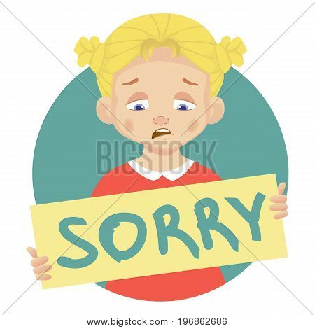 I am sorry message on white background. Sad girl holding poster with word Sorry. Conceptual handwritten message.