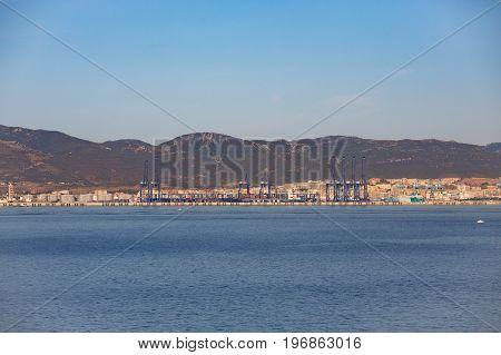 Coastal Shipping Operation Near Gilbalter United Kingdom