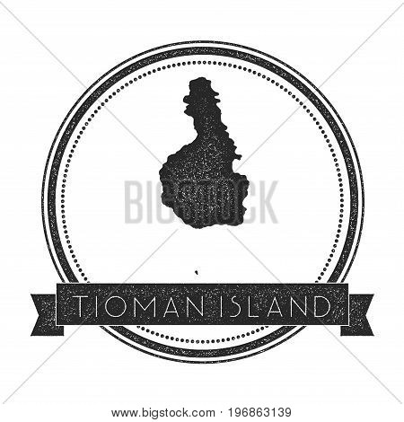 Tioman Island Map Stamp. Retro Distressed Insignia. Hipster Round Badge With Text Banner. Island Vec