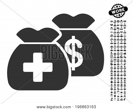 Health Care Funds icon with black bonus work clip art. Health Care Funds vector illustration style is a flat gray iconic symbol for web design, app user interfaces.