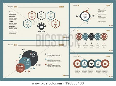 Infographic design set can be used for workflow layout, diagram, annual report, presentation, web design. Business and training concept with process and percentage charts.