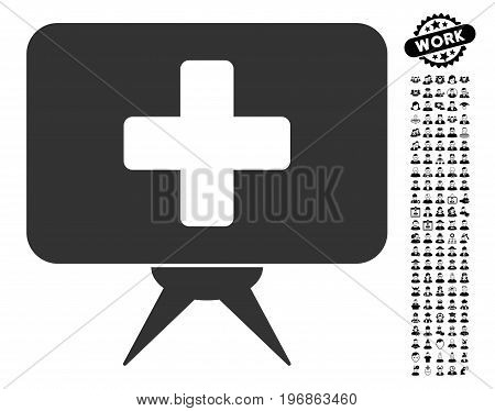Health Care Presentation icon with black bonus men pictograms. Health Care Presentation vector illustration style is a flat gray iconic symbol for web design, app user interfaces.
