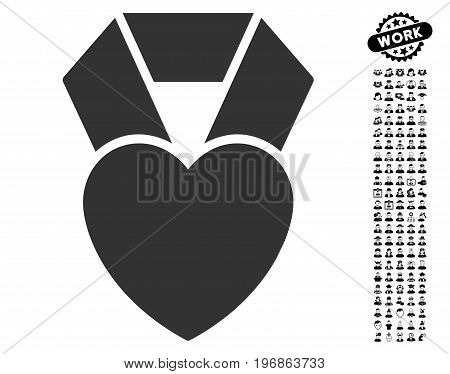 Heart Award icon with black bonus people pictograph collection. Heart Award vector illustration style is a flat gray iconic element for web design, app user interfaces.