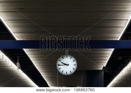 Clock in railway station. background for graphic design.