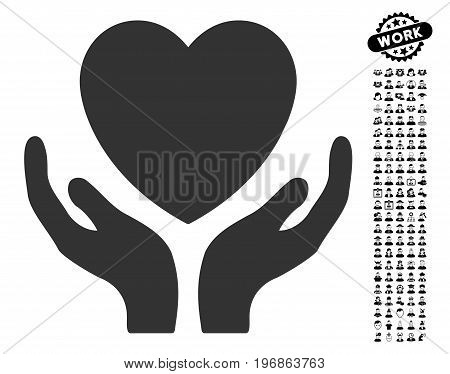 Heart Care icon with black bonus work graphic icons. Heart Care vector illustration style is a flat gray iconic element for web design, app user interfaces.