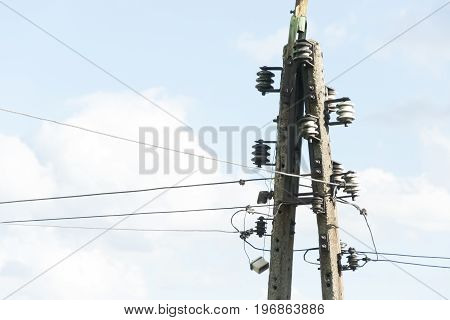 Lamp post with electrical wire. background for graphic design.