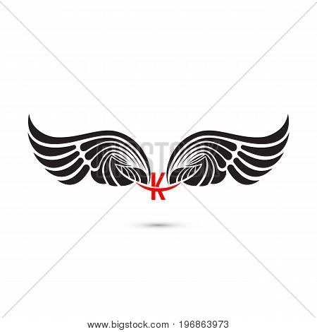 K-letter sign and angel wings.Monogram wing logo mockup.Classic emblem.Elegant dynamic alphabet letters with wings.Creative design element.Corporate branding identity.Flat web design wings icon.Vector illustration.