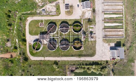 Top view of cleaning construction for a sewage treatment