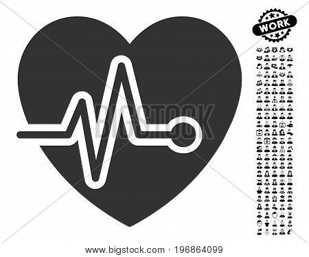 Heart Pulse icon with black bonus men design elements. Heart Pulse vector illustration style is a flat gray iconic symbol for web design, app user interfaces.