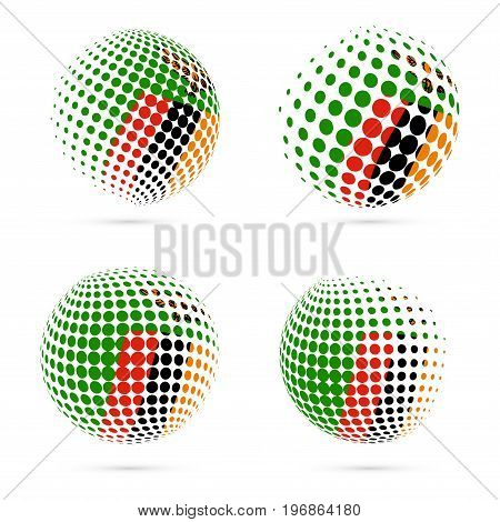 Zambia Halftone Flag Set Patriotic Vector Design. 3D Halftone Sphere In Zambia National Flag Colors