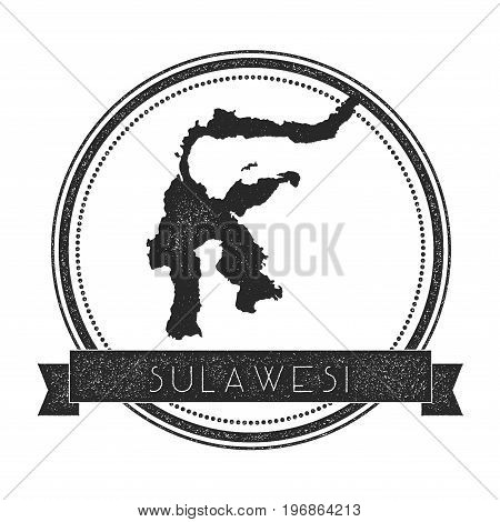 Sulawesi Map Stamp. Retro Distressed Insignia. Hipster Round Badge With Text Banner. Island Vector I