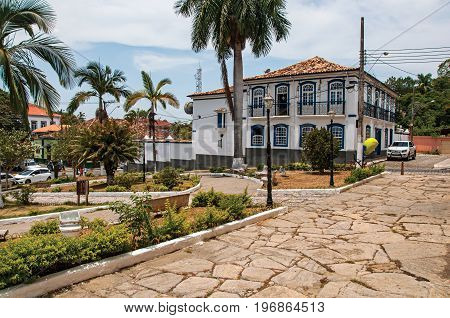 Bananal, Brazil - January 21, 2015. Old building facade in front of the square and cobblestone street in Bananal, a quiet and graceful countryside village. São Paulo State, southwestern Brazil
