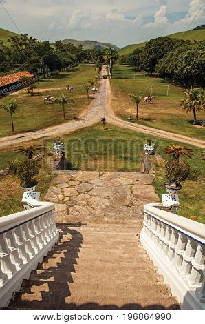 Bananal, Brazil - January 21, 2015. View of the lush and opulence of gardens in an old estate near Bananal, a graceful countryside village. Located in the São Paulo State, southwestern Brazil