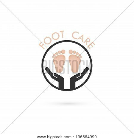 Foot Care Logo.Human foot icon.Foot spa concept.Vector illustration.