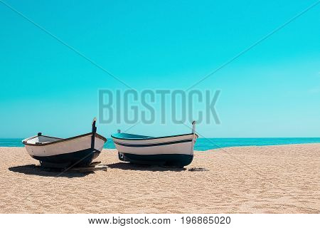 Fishing boats on the beach, Mediterranean in Spain
