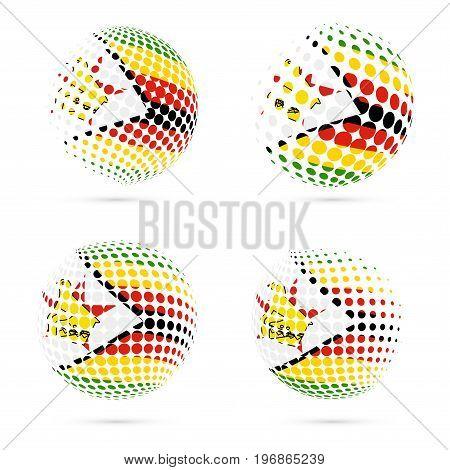 Zimbabwe Halftone Flag Set Patriotic Vector Design. 3D Halftone Sphere In Zimbabwe National Flag Col