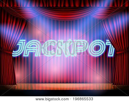 Jackpot casino win neon lettering live stage on background with red curtain. Vector abstract background