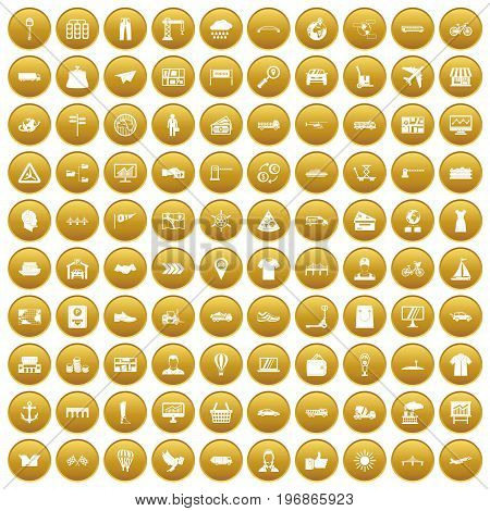 100 logistic and delivery icons set in gold circle isolated on white vector illustration