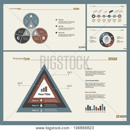 Infographic design set can be used for workflow layout, diagram, annual report, presentation, web design. Business and research concept with process and percentage charts.