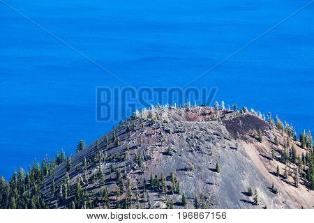 Volcanic Cone Of Wizard Island In Crater Lake