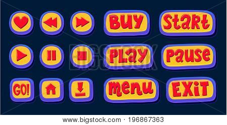 Web buttons set. Hand drawn web buttons for player. Like, rewind, play, pause, stop, GO, home, download, buy, like, exit menu Internet button set application design game design Vector illustration