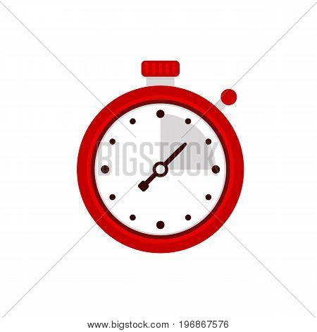 Stopwatch icon. Sport timer on competitions. Trainer holding stopwatch. Start, finish. Time management. Vector illustration flat design. Isolated on background