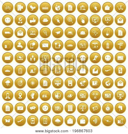 100 mail icons set in gold circle isolated on white vector illustration