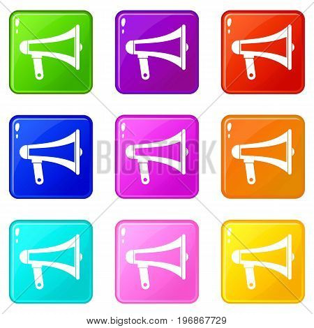 Loudspeaker icons of 9 color set isolated vector illustration