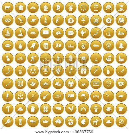 100 map icons set in gold circle isolated on white vector illustration
