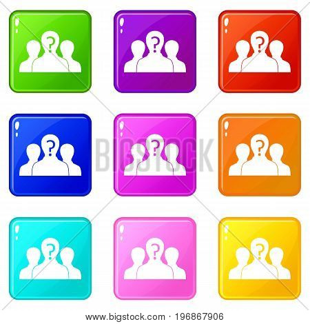Group of people with unknown personality icons of 9 color set isolated vector illustration