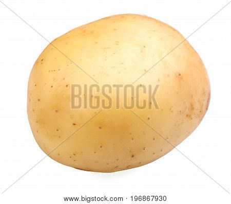 A single whole tasteful potato, isolated on a white background. A raw, uncooked, fresh and ripe concept of vegetables. Healthful agriculture ingredients for homemade meals.
