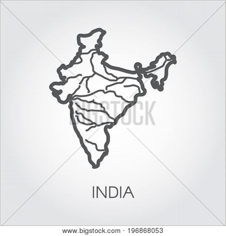 Republic of India map in line style. Sketch icon of country for cartography, geography, education projects, documents, sites, articles and other design needs