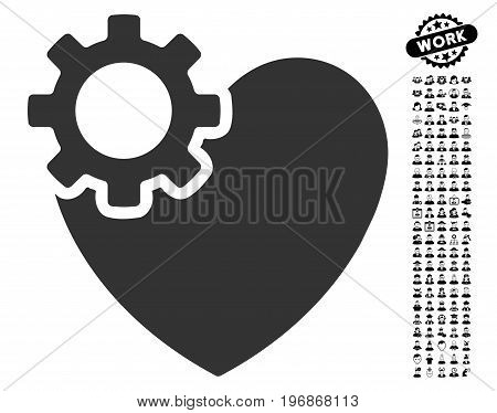 Heart Surgery icon with black bonus men pictograph collection. Heart Surgery vector illustration style is a flat gray iconic symbol for web design, app user interfaces.
