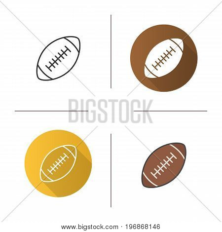 American football ball icon. Flat design, linear and color styles. Rugby ball. Isolated vector illustrations