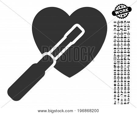Heart Tuning icon with black bonus job pictures. Heart Tuning vector illustration style is a flat gray iconic element for web design, app user interfaces.